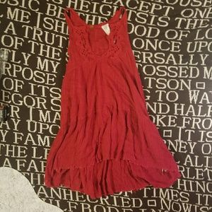 Free people fp one lace slip trapeze dress red M